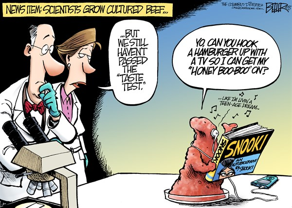 Nate Beeler - The Columbus Dispatch - Petri Dish Beef COLOR - English - science, beef, meat, grow, cultured, culture, petri, dish, scientist, taste, test, snooki, hamburger, honey boo boo, katie perry, stem, cells, food, genetics