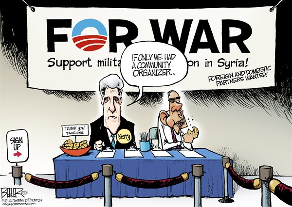 Nate Beeler - The Columbus Dispatch - Support for Syria COLOR - English - john kerry, barack obama, war, syria, community organizer, support, military, intervention, world, international, politics, middle east, assad, attack, strike