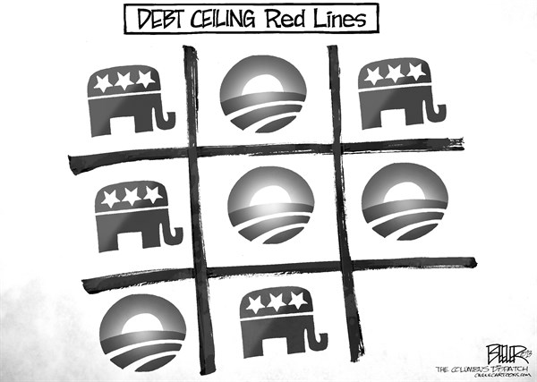 Nate Beeler - The Columbus Dispatch - Debt Lines - English - barack obama, gop, congress, republicans, debt, ceiling, budget, limit, tic tac toe, red, line, politics, game, spending, deficit, government, president