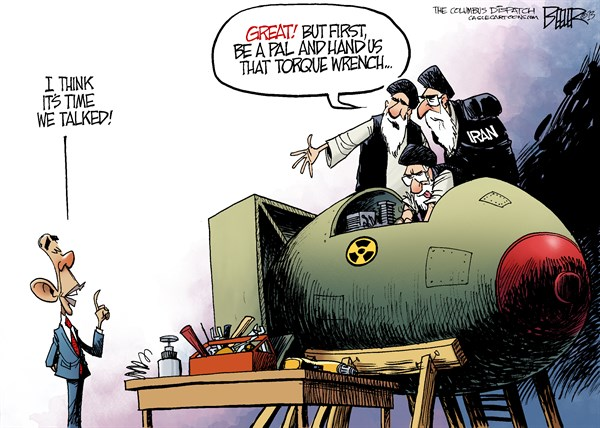 Obama and Iran © Nate Beeler,The Columbus Dispatch,barack obama, iran, diplomacy, nuclear, weapon, nuke, middle east, ayatollah, un, united nations, sanctions, talk, foreign affairs, world