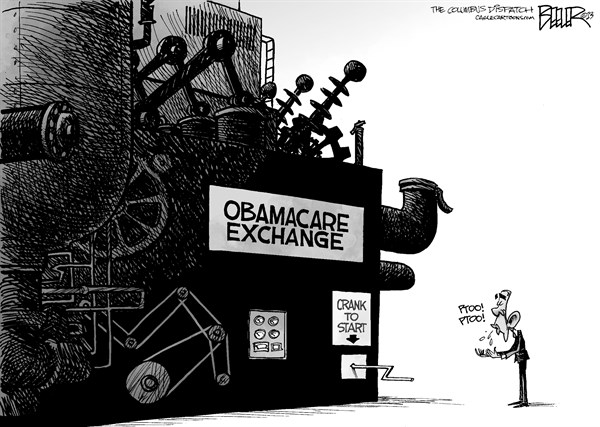 Nate Beeler - The Columbus Dispatch - Obamacare Exchange - English - barack obama, obamacare, health, care, reform, affordable care act, aca, machine, government, big, exchange, open, start, politics, president