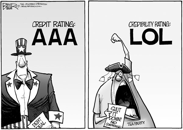 Nate Beeler - The Columbus Dispatch - Credibility Rating - English - debt, limit, ceiling, shutdown, government, deal, credit, rating, aaa, tea party, conservative, republican, gop, lol, credibility, compromise, no, politics, congress, spending