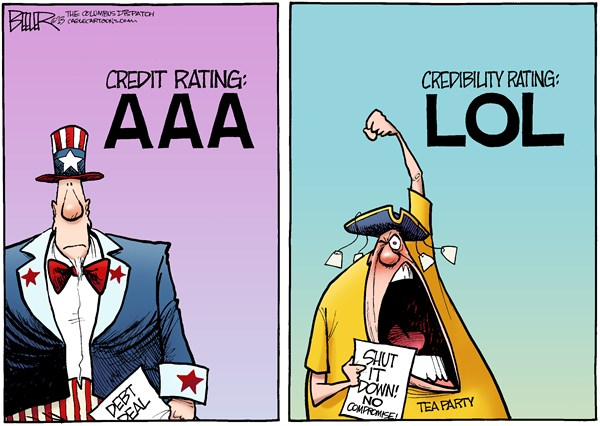 Nate Beeler - The Columbus Dispatch - Credibility Rating COLOR - English - debt, limit, ceiling, shutdown, government, deal, credit, rating, aaa, tea party, conservative, republican, gop, lol, credibility, compromise, no, politics, congress, spending