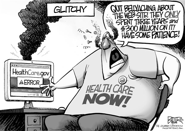 Nate Beeler - The Columbus Dispatch - Glitchy - English - obamacare, exchange, web site, healthcare, error, glitch, health care, health, government, patience, barack obama, politics
