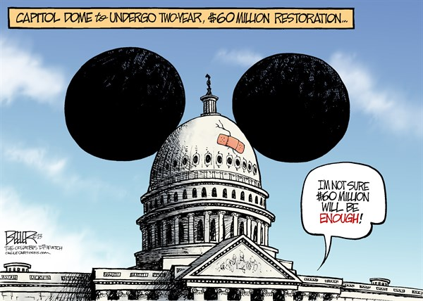 Capitol Restoration © Nate Beeler,The Columbus Dispatch,congress, mickey mouse, restoration, politics, house, senate, republicans, democrats, washington, capitol, dome, repair, ears