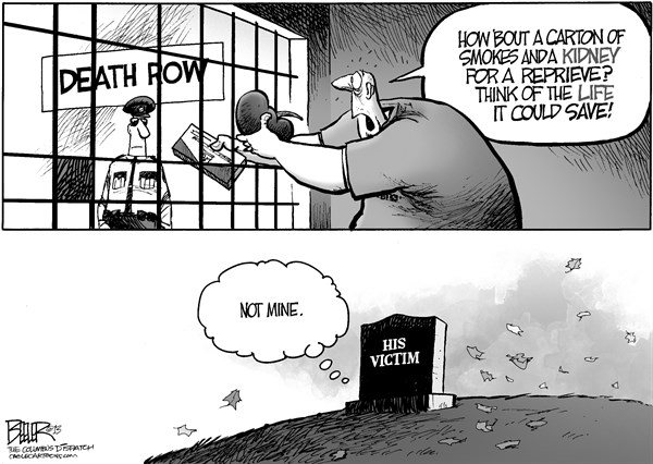 Nate Beeler - The Columbus Dispatch - Death Row Donor - English - kasich, governor, ohio, death row, execution, reprieve, organ, donor, donation, stay, inmate, murderer, killer, victim, life, save, prison, crime