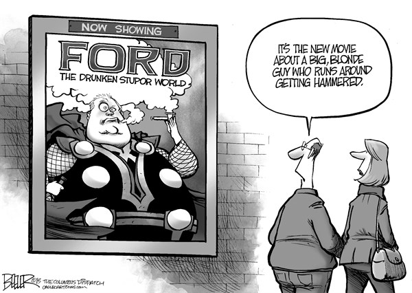 Nate Beeler - The Columbus Dispatch - Rob Ford Movie - English - mayor, rob ford, toronto, crack, drunken, stupor, thor, dark world, superhero, marvel, comics, entertainment, movie, film, drugs, canada