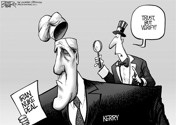 Nate Beeler - The Columbus Dispatch - The Kerry Deal - English - iran, nuclear, deal, nuke, john kerry, secretary of state, foreign affairs, mullah, tehran, middle east, negotiation, trust, verify, world