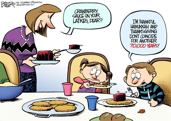 Thanksgivukkah © Nate Beeler,The Columbus Dispatch,hanukkah,thanksgiving,holiday,latke,coincide,children,dinner,food,cranberry,sauce,jewish,jew,judaism,religion,thanksgivukkah