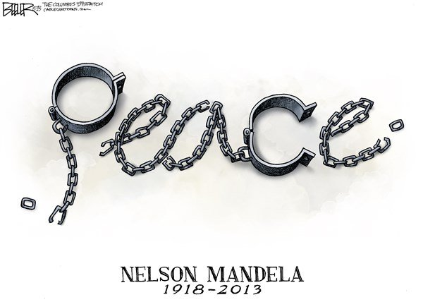 Nelson Mandela © Nate Beeler,The Columbus Dispatch,nelson mandela, obituary, peace, chains, south africa, death, memorial