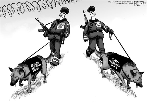 Nate Beeler - The Columbus Dispatch - Sochi Security - English - sochi, olympics, gay, homosexuality, homsexual, bomb, sniffing, dog, putin, sports, russia, terrorism, terror, security