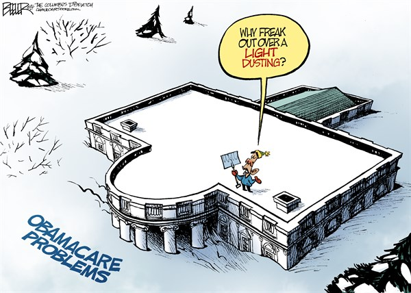 Obamacare Snowstorm © Nate Beeler,The Columbus Dispatch,obamacare, barack obama, health care, reform, problems, snow, light dusting, blizzard, cbo, report, glitch, website, cost, weather, winter, shovel, president, politics