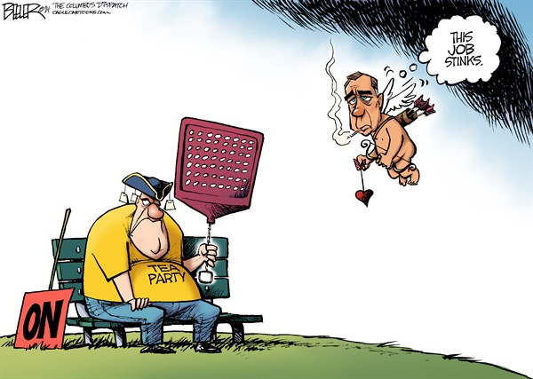 Nate Beeler - The Columbus Dispatch - Cupid Boehner COLOR - English - john boehner, speaker, house, tea party, politics, republicans, gop, congress, cupid, arrow, valentine, day, holiday, cherub, conservative