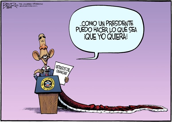 Nate Beeler - The Columbus Dispatch - Obama Imperial / COLOR - Spanish - Barack,Obama,presidente,USA,rey,empeador,demoras,retrasos,mandato,negocio,empleador,imperial,presidencia,politica,conservador,Obamacare
