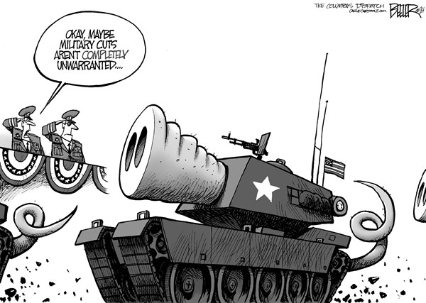 Nate Beeler - The Columbus Dispatch - Military Cuts - English - military, budget, cut, spending, government, chuck hagel, defense, national security, army, united states, pork, pig, tank, war, footing, tail, snout