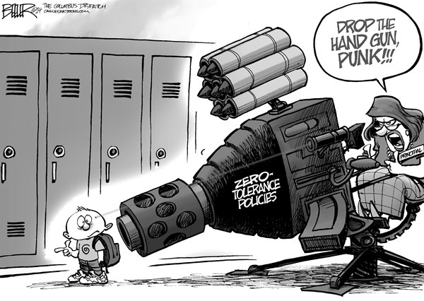 Nate Beeler - The Columbus Dispatch - Hand Guns - English - gun, student, kid, children, child, hand, zero, tolerance, policies, policy, school, principal, weapon, firearm, education, elementary