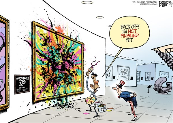 Nate Beeler - The Columbus Dispatch - Obamacare Changes COLOR - English - barack obama, president, affordable care act, obamacare, health care, painting, splatter, museum, painter, art, artist, politics, changes, administrative discretion, hhs, delay, mandate, insurance, health, law