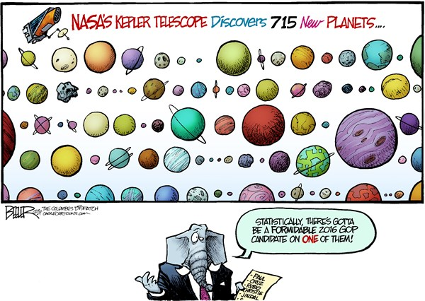 Nate Beeler - The Columbus Dispatch - Planets and Politics COLOR - English - kepler, telescope, nasa, space, planets, science, astronomy, gop, republican, candidate, 2016, election, conservative, politics, presidential, nominee, rand paul, ted cruz, marco rubio, chris christie, bobby jindal