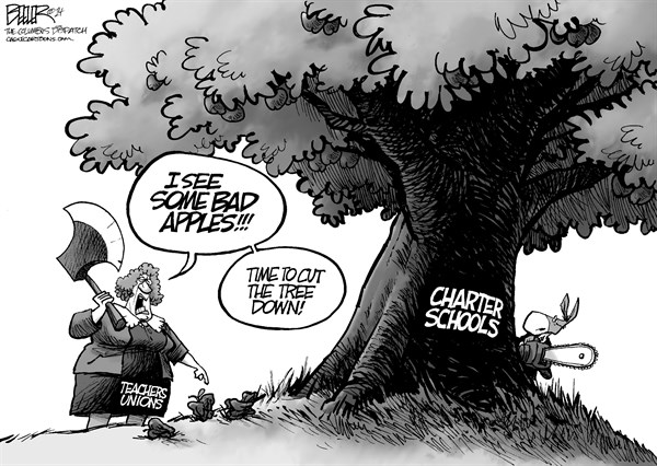 Nate Beeler - The Columbus Dispatch - Charter Schools - English - charter, schools, education, teachers, unions, democrats, cut, tree, bad apples, funding, public