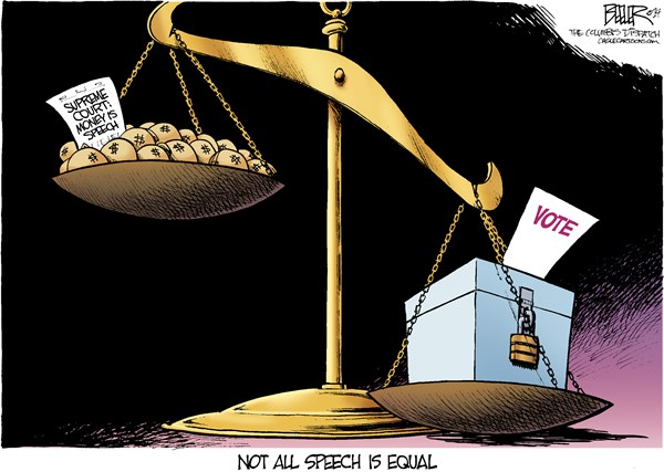 Free Speech © Nate Beeler,The Columbus Dispatch,supreme court, money, campaign, finance, limit, free speech, speech, vote, voter, politics, election, law, government, donations, scale, ballot