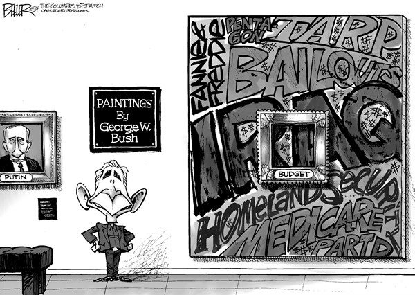 Nate Beeler - The Columbus Dispatch - Bush Paintings - English - george bush, george w, president, painting, putin, former, spending, budget, deficits, debt, iraq, fannie, freddie, homeland security, medicare part d, entitlements, tarp, pentagon, military, bailouts, tarp, banks, art