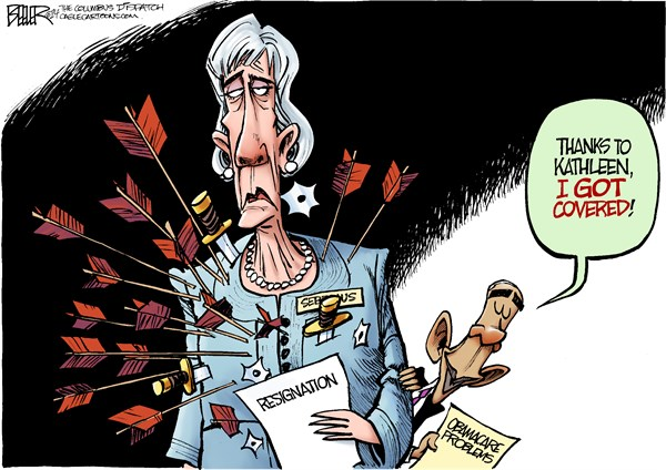 Sebelius Resigns © Nate Beeler,The Columbus Dispatch,kathleen sebelius, obamacare, health care, reform, hhs, health and human services, secretary, cabinet, barack obama, white house, resignation, resign, quit, politics, president, aca, rollout, glitch, website, covered, arrows, problems, knives