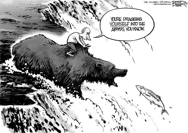Nate Beeler - The Columbus Dispatch - Ukraine Abyss - English - russia,ukraine,vladimir putin,bear,fish,abyss,water,river,stream,jumping,invasion,crimea,kiev,foreign affairs,international