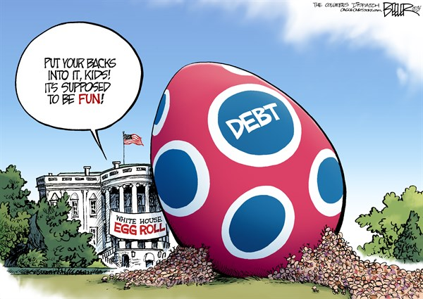 Egg Roll © Nate Beeler,The Columbus Dispatch,white house,egg,roll,children,kids,easter,debt,spending,barack obama,politics,entitlements,deficit,holiday