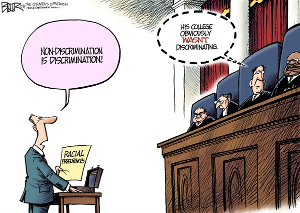 Affirmative Action © Nate Beeler,The Columbus Dispatch,supreme court, affirmative action, racial, preferences, race, college, university, admissions, michigan, education, law, discrimination, justices, politics