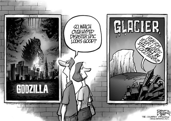 Nate Beeler - The Columbus Dispatch - Godzilla and Glaciers - English - godzilla, glacier, movie, film, entertainment, disaster, melt, antarctica, global warming, climate change, weather, hype, hollywood