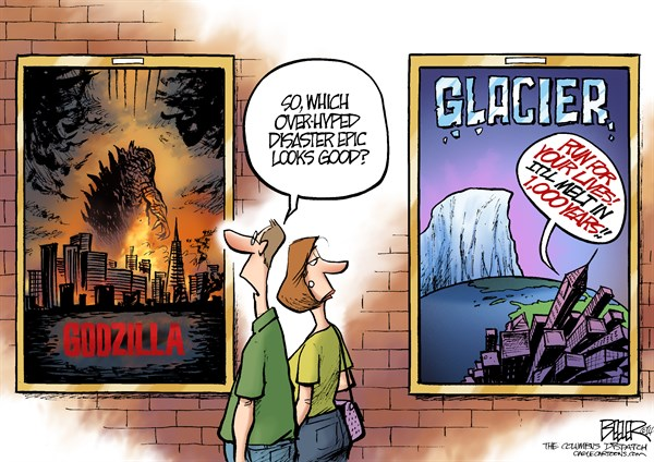 Godzilla and Glaciers © Nate Beeler,The Columbus Dispatch,godzilla, glacier, movie, film, entertainment, disaster, melt, antarctica, global warming, climate change, weather, hype, hollywood