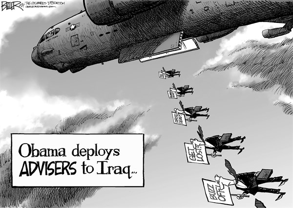 Nate Beeler - The Columbus Dispatch - Iraq Advisers - English - barack obama, president, iraq, advisers, plane, bomber, war, chaos, civil war, sectarian violence, isis, isil, middle east, foreign affairs