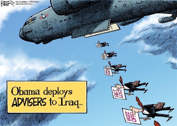 Iraq Advisers © Nate Beeler,The Columbus Dispatch,barack obama, president, iraq, advisers, plane, bomber, war, chaos, civil war, sectarian violence, isis, isil, middle east, foreign affairs