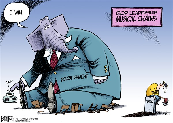 Nate Beeler - The Columbus Dispatch - GOP Musical Chairs COLOR - English - gop, republicans, tea party, leadership, musical, chairs, eric cantor, primary, defeat, establishment, washington, politics, elephant, congress, house, mccarthy, boehner, scalise