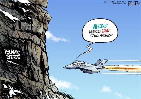 Iraq Flight Path © Nate Beeler,The Columbus Dispatch,iraq, islamic state, isis, war, jet, fighter plane, united states, us, foreign policy, mountain, rock, wall, politics, violence, world, barack obama