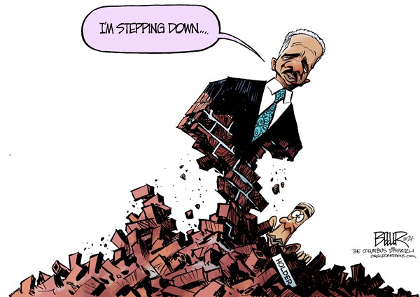 Holder Resigns © Nate Beeler,The Columbus Dispatch,eric holder, attorney general, resign, resignation, stepping down, brick, wall, stonewall, barack obama, politics, justice department, doj, cabinet, ag, government, president, scandals