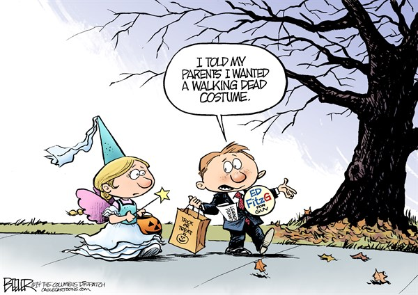 LOCAL OH   Zombie Costume © Nate Beeler,The Columbus Dispatch,halloween, ed fitzgerald, ohio, governor, costume, kids, children, walking dead, holiday, trick or treat, campaign, 2014, democrat, election