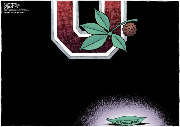 LOCAL OH   Fallen Buckeye © Nate Beeler,The Columbus Dispatch,kosta karageorge, suicide, osu, ohio state university, football, college, sports, athlete, wrestler, wrestling, player, concussion, logo, buckeyes, buckeye, leaf, death, columbus, ohio