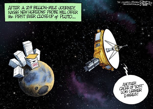Pictures from Pluto © Nate Beeler,The Columbus Dispatch,nasa, space, pluto, new horizons, probe, planet, science, lois lerner, email, irs, lost, targeting, conservative, groups, government, tea party