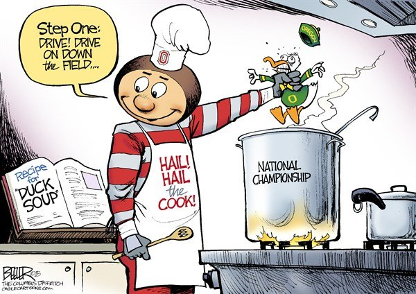 LOCAL OH   Buckeyes vs Ducks © Nate Beeler,The Columbus Dispatch,brutus buckeye, ohio state university, buckeyes, osu, football, national championship, sports, college, ncaa, oregon, ducks, duck soup, pot, stove, cook, recipe, ohio, columbus
