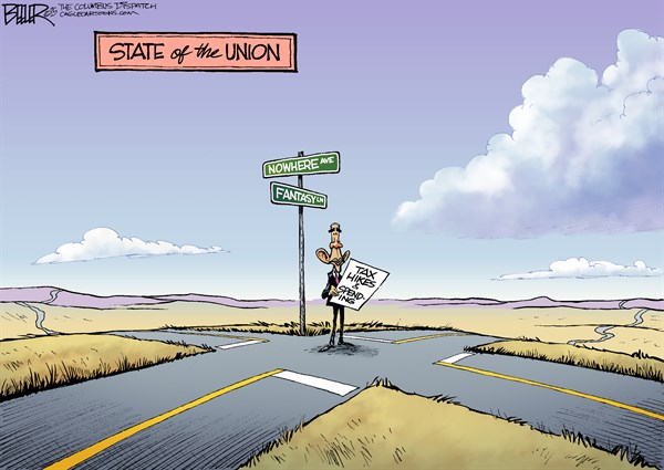 State of the Union © Nate Beeler,The Columbus Dispatch,barack obama, politics, taxes, tax hikes, spending, state of the union, SOTU, nowhere, fantasy, road, president, 2015