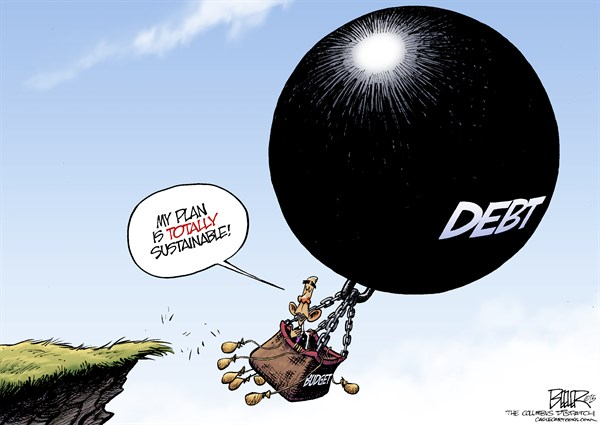 Budget Balloon © Nate Beeler,The Columbus Dispatch,barack obama, president, budget, debt, balloon, ball, chain, sustainable, 2016, gondola, spending, deficit, taxes, tax, spend, politics, congress, liberal, progressive, agenda