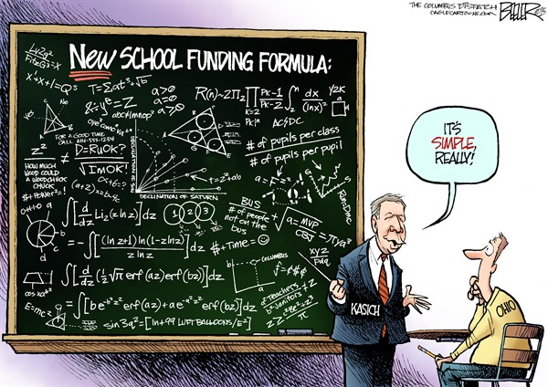 LOCAL OH   School Funding © Nate Beeler,The Columbus Dispatch,john kasich, governor, ohio, school, funding, formula, blackboard, chalkboard, equation, education, budget, state, simple