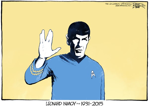 Live Long and Prosper © Nate Beeler,The Columbus Dispatch,leonard nimoy, death, obituary, spock, star trek, live long and prosper, actor, film, movies, television, tv, entertainment