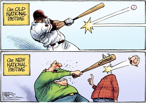 National Pastime © Nate Beeler,The Columbus Dispatch,baseball, national pastime, outrage, sports, opinion, rage, trolls, civility, news, media, entertainment, divisiveness, anger, hate, bat, ball, culture, politics