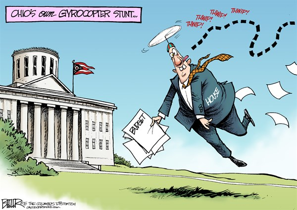 LOCAL OH   Ohio Gyrocopter © Nate Beeler,The Columbus Dispatch,ohio, gyrocopter, stunt, house, budget, republican, gop, propeller, hat, politics, conservatives, crazy, loony, statehouse, capital, columbus