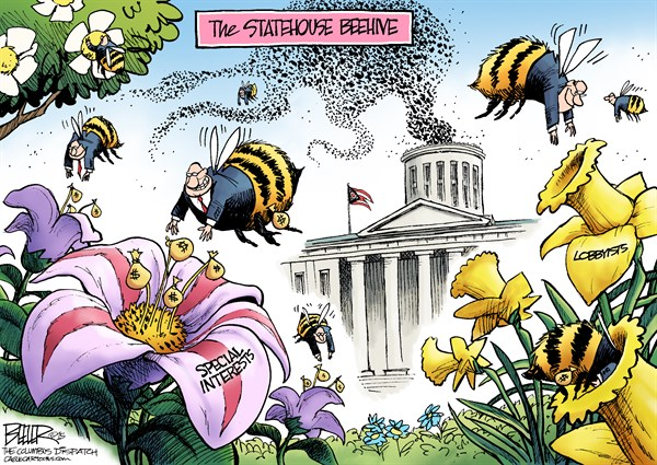 LOCAL OH   Statehouse Beehive © Nate Beeler,The Columbus Dispatch,ohio, statehouse, capital, bees, beehive, legislators, legislature, general assembly, politics, house, senate, government, special interests, lobbyists, money, earth day, politicians, columbus