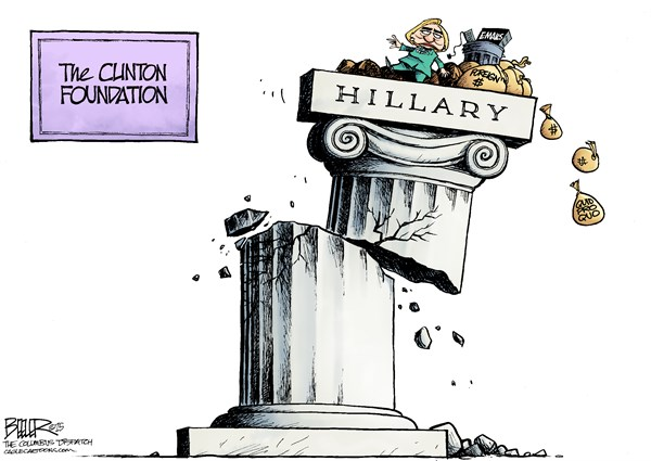 Crumbling Clinton © Nate Beeler,The Columbus Dispatch,hillary clinton, clinton foundation, foreign, money, donations, donors, corruption, email, quid pro quo, bribery, column, politics, 2016, democrat, democratic, candidate, presidential, president, secretary of state, election