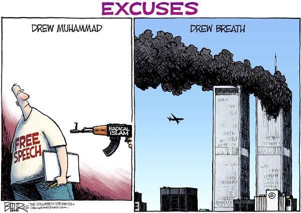 Radical Rationalization © Nate Beeler,The Columbus Dispatch,free speech, radical islam, terrorists, cartoon, muhammad, mohammad, prophet, draw, excuses, drew, breath, september 11, draw, terrorism, violence, cartoonist, charlie hebdo, pam geller, garland, texas, new york, attack, politics, muslims, isis, al qaida