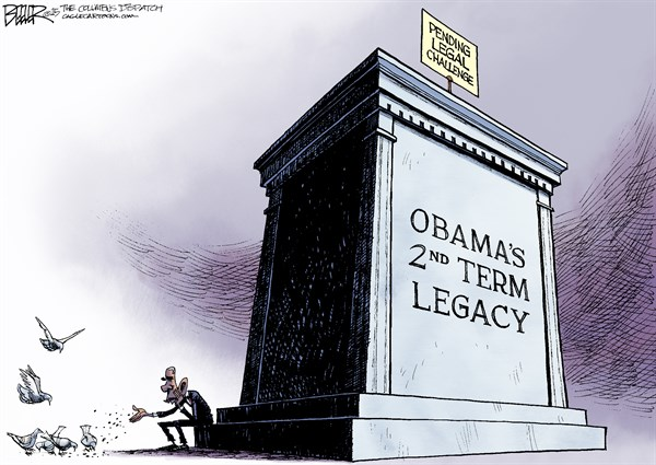 Monumental Legacy © Nate Beeler,The Columbus Dispatch,barack obama, president, legal, challenge, second term, legacy, record, accomplishments, law, executive power, lawsuits, immigration, gay marriage, epa, environment, obamacare, health care, statue, pigeons